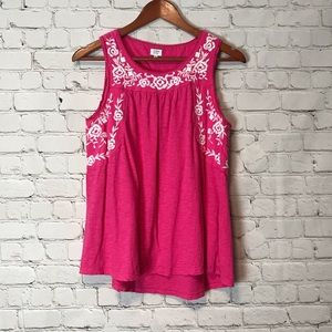 EUC Crown & Ivy Embroidery Hot Pink Tank